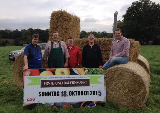 Das Bauernmarkt-Team hat mit der Bewerbung der Veranstaltung begonnen: Hubert Boelker, Stefan Gröpper, Oliver Kelch, Heiner Schwarzhoff, Christian Gehling (v.l.)