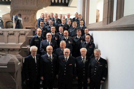 Feuerwehrjubilare mit Bürgermeister Christoph Tesche.