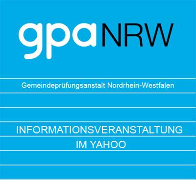 """Auf dem Bild: """"Infomationsveranstaltung im Yahoo""""; Logo: GPA NRW"""