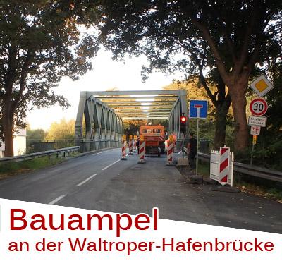 Auf dem Bild: Ampelanlage an der Waltroper-Hafenbrücke (Foto: WSA Duisburg-Meiderich)