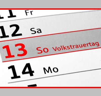 "Auf dem Bild: Kalenderausschnitt ""Volkstrauertag"", (c) RRF, fotolia.com"
