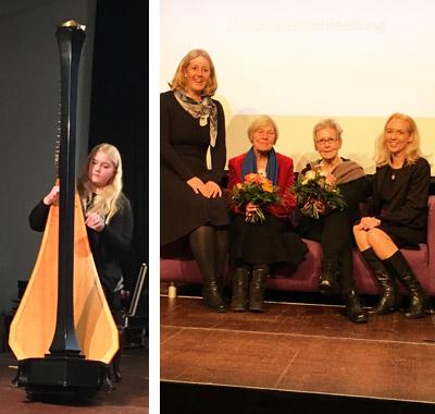 Auf dem Bild: Harfinistin Karlotta Haydn (links), Bürgermeisterin Nicole Moenikes, Dr. Barbara Stiegler, Petra Kluge und Sandra Hilse auf dem lila Sofa (rechts). Fotos: Stadt Waltrop.