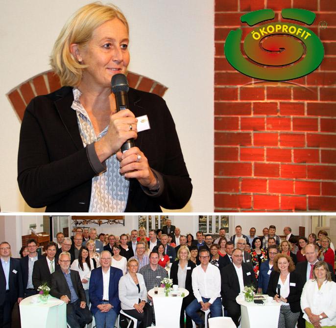 Auf dem Bild: Bürgermeisterin Nicole Moenikes und die Vertreter der zertifizierten Betriebe