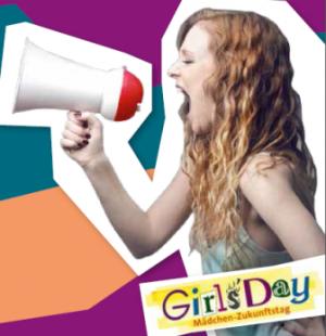Auf dem Bild: Waltroper Girls Day, Motiv: Mädchen mit Megaphon