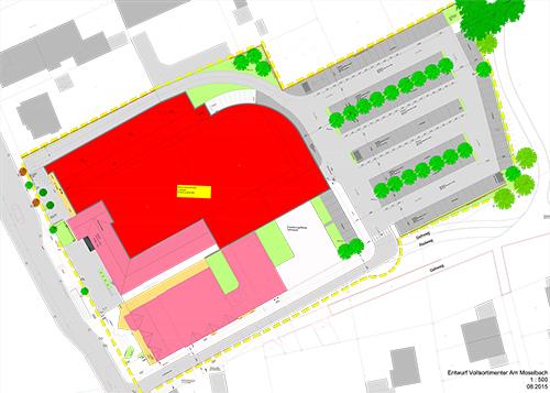 "Auf dem Bild: Skizze aus der Planung für das Projekt ""Vollsortimenter Am Moselbach"""