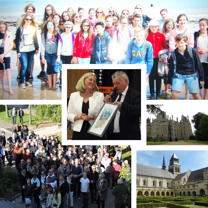 Auf der Fotocollage: Beide Bürgermeister (Mitte), ein gemeinsames Gruppenfoto (unten links), Die Jugendparlamente am Strand von Hirel (oben) sowie die Abtei von Fontevraud und das Schloss von Brissac (unten rechts); Fotos: Privat.