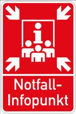 Diese Schilder weisen im Kreis Recklinghausen auf die Notfall-Infopunkte hin.