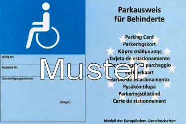 Muster Parkausweis Schwerbehinderung