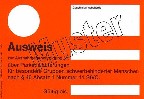 Muster Schwerbehindertenparkausweis aG-light (orange)