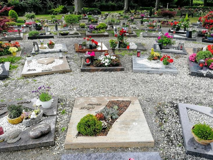 Beispiel für Urnenwahlgräber auf dem städtischen Friedhof Waltro
