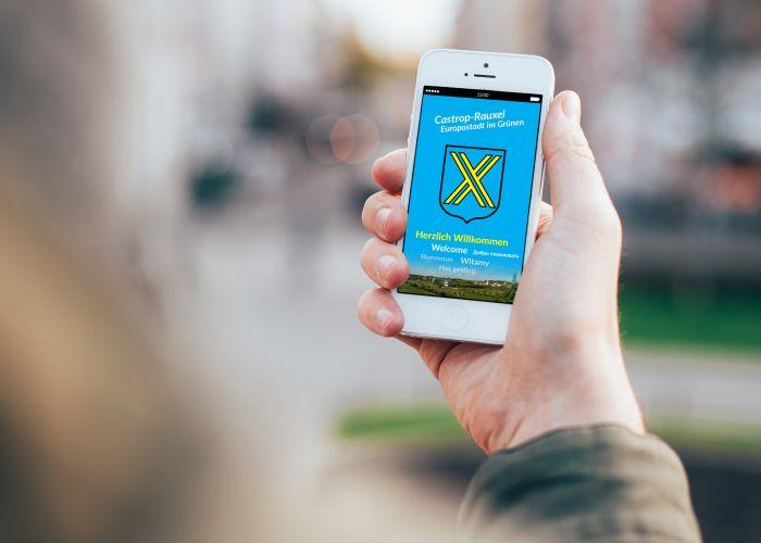 Handy-Bildschirm mit der Cas-APP