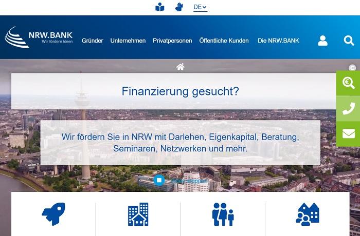 Screenshot Homepage NRW.bank