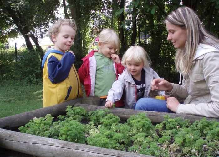 Kinder der Ökoinsel an ihrem Kräuterbeet