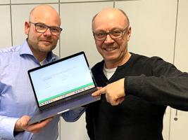 Das Bild zeigt links den Wirtschaftsförderer der Stadt Datteln, Stefan Huxel, und rechts den Wirtschaftsförderer der Stadt Waltrop Burkhard Tiessen