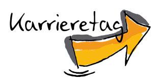 Das Bild zeigt das Logo des Karrieretages - einen orangefarbenen Pfeil