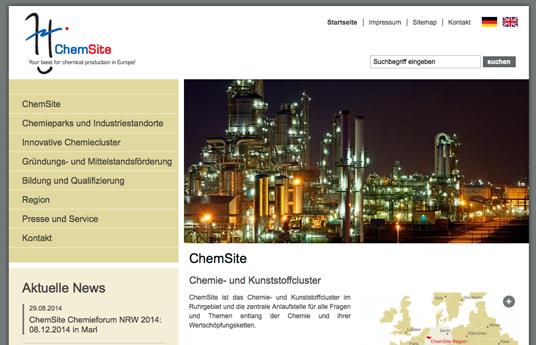 Das Bild zeigt die Internetseite vom Chemiepark Marl