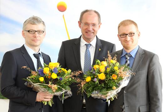Das Bild zeigt Stadtbaurat Martin Harter, Bürgermeister Ulrich Roland und Planungsamtsleiter Niklas Franke