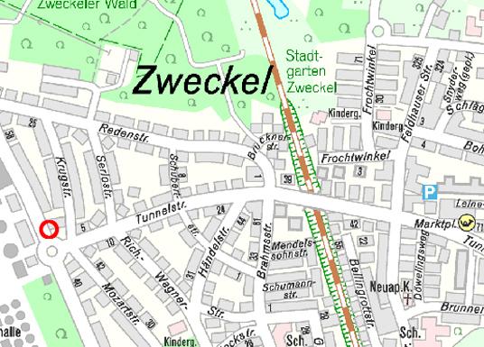 Das Bild zeigt einen Kartenausschnitt der Tunnelstraße