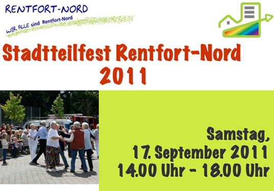 Das Bild zeigt das Plakat für das Stadtteilfest Rentfort-Nord