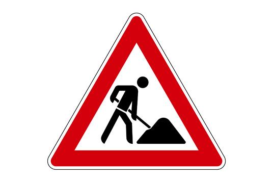 Das Bild zeigt ein Baustellenzeichen