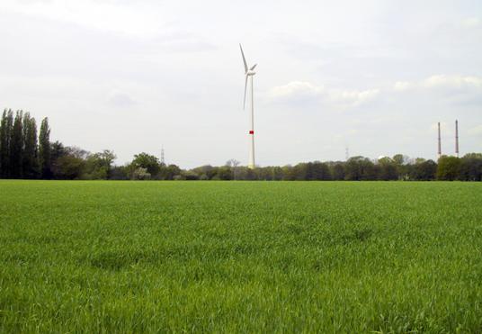 Das Bild zeigt ein Windrad in Gladbeck