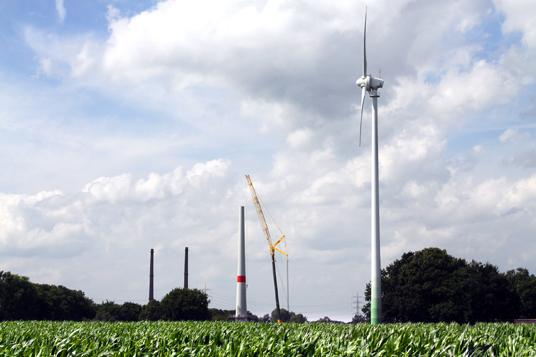 Das Bild zeigt das neue Windrad in Gladbeck