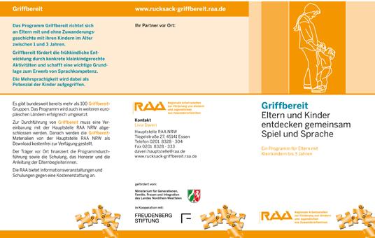 Das Bild zeigt einen Flyer der RAA