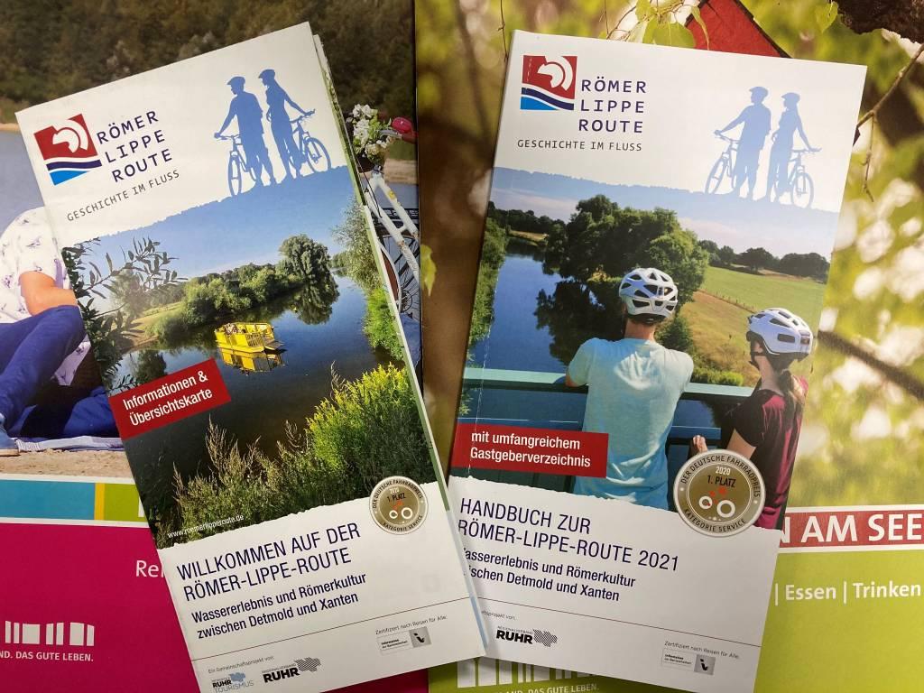 Titelbilder der Broschüren Römer-Lippe-Route 2021