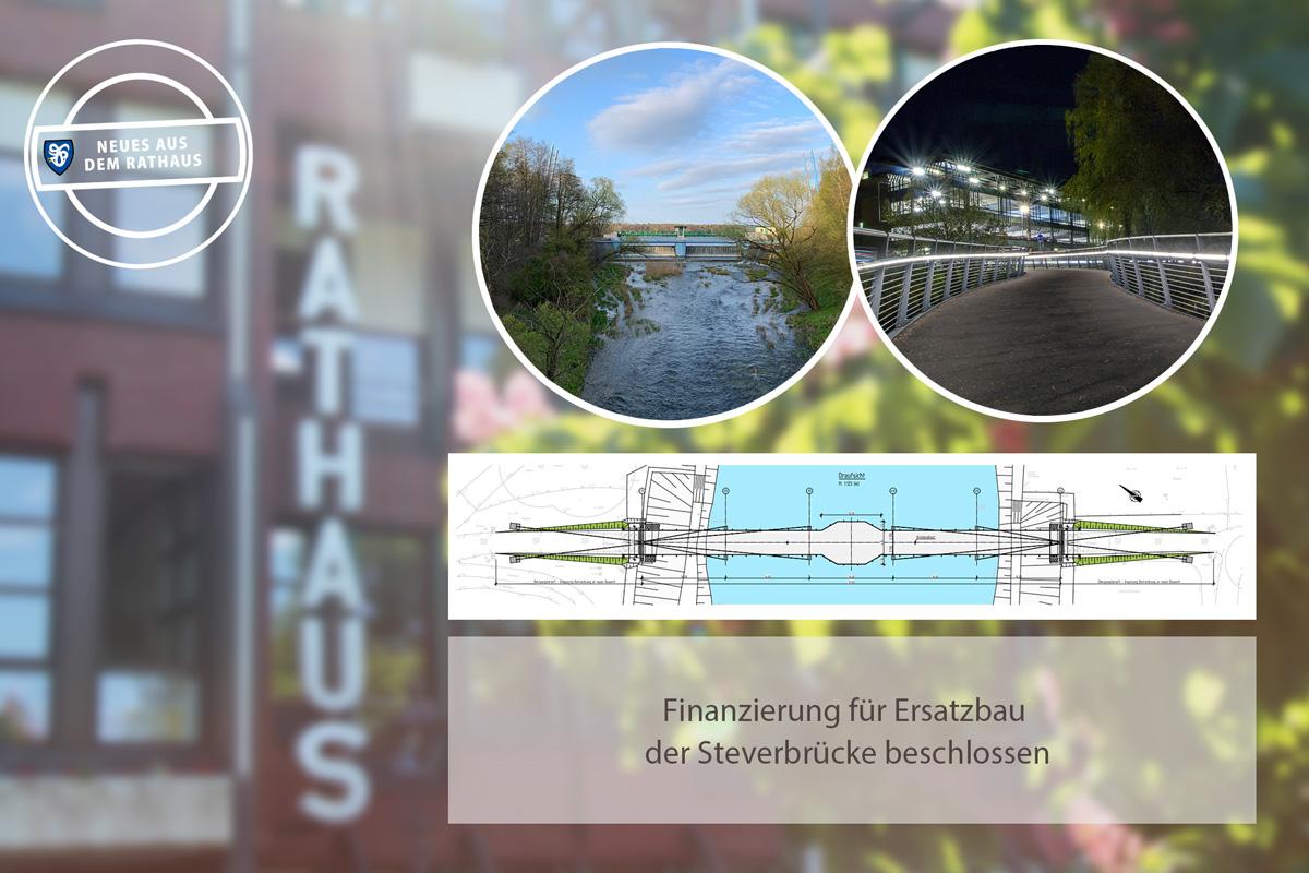 Fotomontage mit Brücke, Geländer und Skizze.