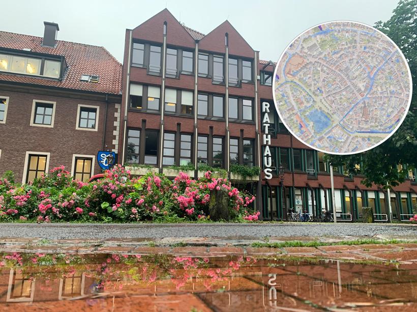 Montage Rathaus und Ausschnitt Karte
