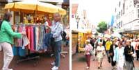 Bildkollage Einkaufssonntag mit Verkaufsstand und Blick in die Rekumer Straße