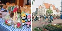 Bildkollage Märkte mit Verkaufsstand mit frischen Produkten und Blick auf den Blumenmarkt