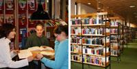 Bildkollage von drei lesenden Frauen und Bücherregalen