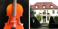 Bildkollage Cello und Gebäude der Musikschule von außen