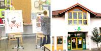 Bildkollage Impression aus dem Trigon und Gebäude von außen