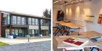 Bildkollage Impression aus dem Künstlerhof Lavesum und Gebäude von außen