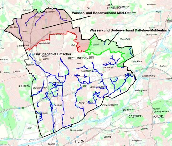 Karte RVR: Gewässer in Recklinghausen