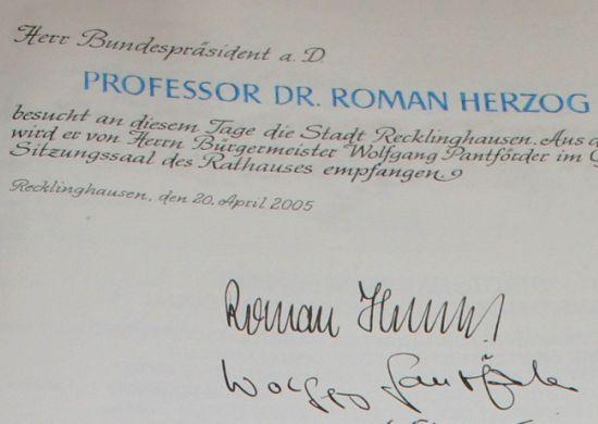 Goldenes Buch – Eintrag Roman Herzog