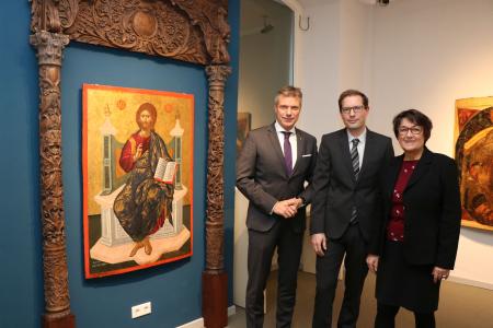 Wachwechsel im Ikonenmuseum Recklinghausen: Bürgermeister Christoph Tesche begrüßte Dr. Lutz Rickelt, der zum 1. Dezember die Nachfolge von Dr. Eva Haustein-Bartsch antritt.