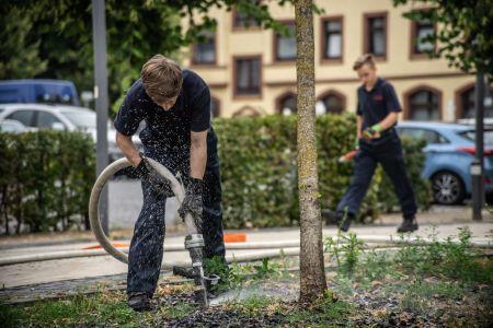 Pressefoto Baumbewässerung - Ein Mitarbeiter der Feuerwehr Recklinghausen bewässert einen Jungbaum im Stadtgebiet.