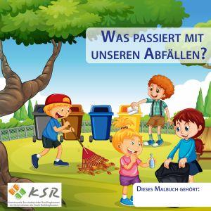 """Malbuch Veröffentlichung mit der Angabe: Titelbild Malbuch """"Was passiert mit unseren Abfällen"""", erstellt durch Firma CREARTIV GmbH, Essen"""