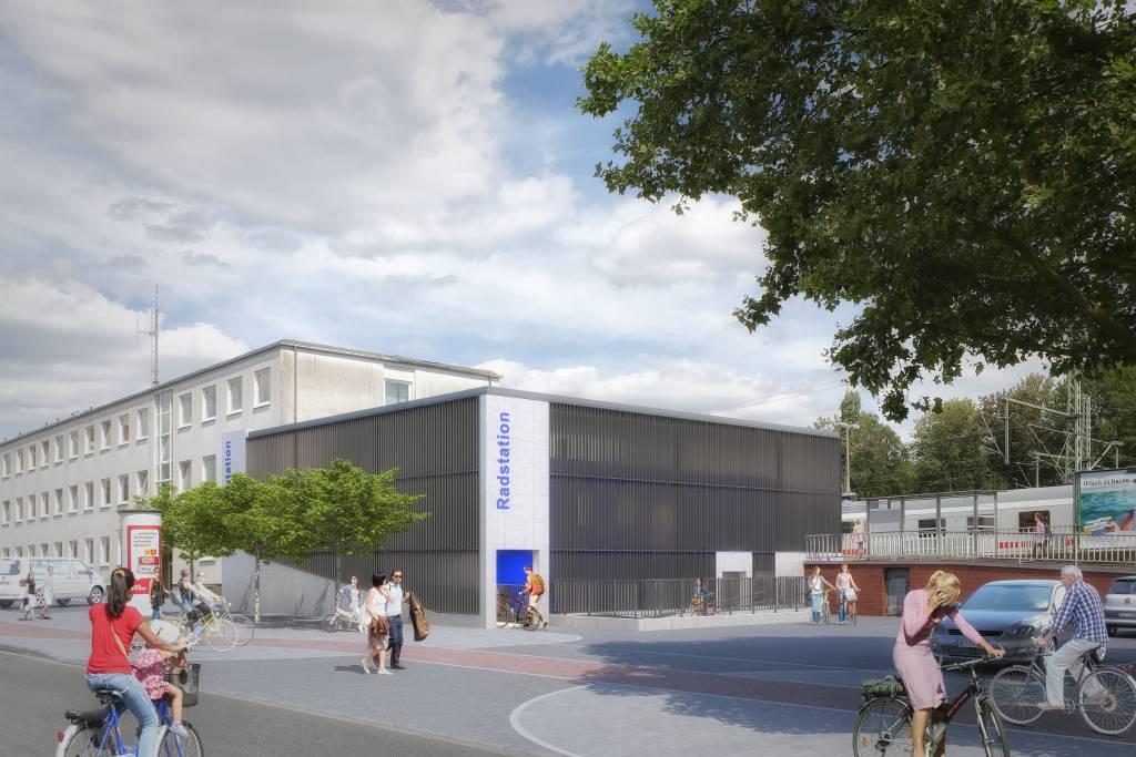 In der Animation der Architekten ist die neue Radstation neben dem Hauptbahnhof bereits fertig.