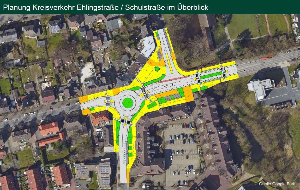 Kreisverkehr Kreuzung Ehlingstraße/Schulstraße: Bauarbeiten starten im November