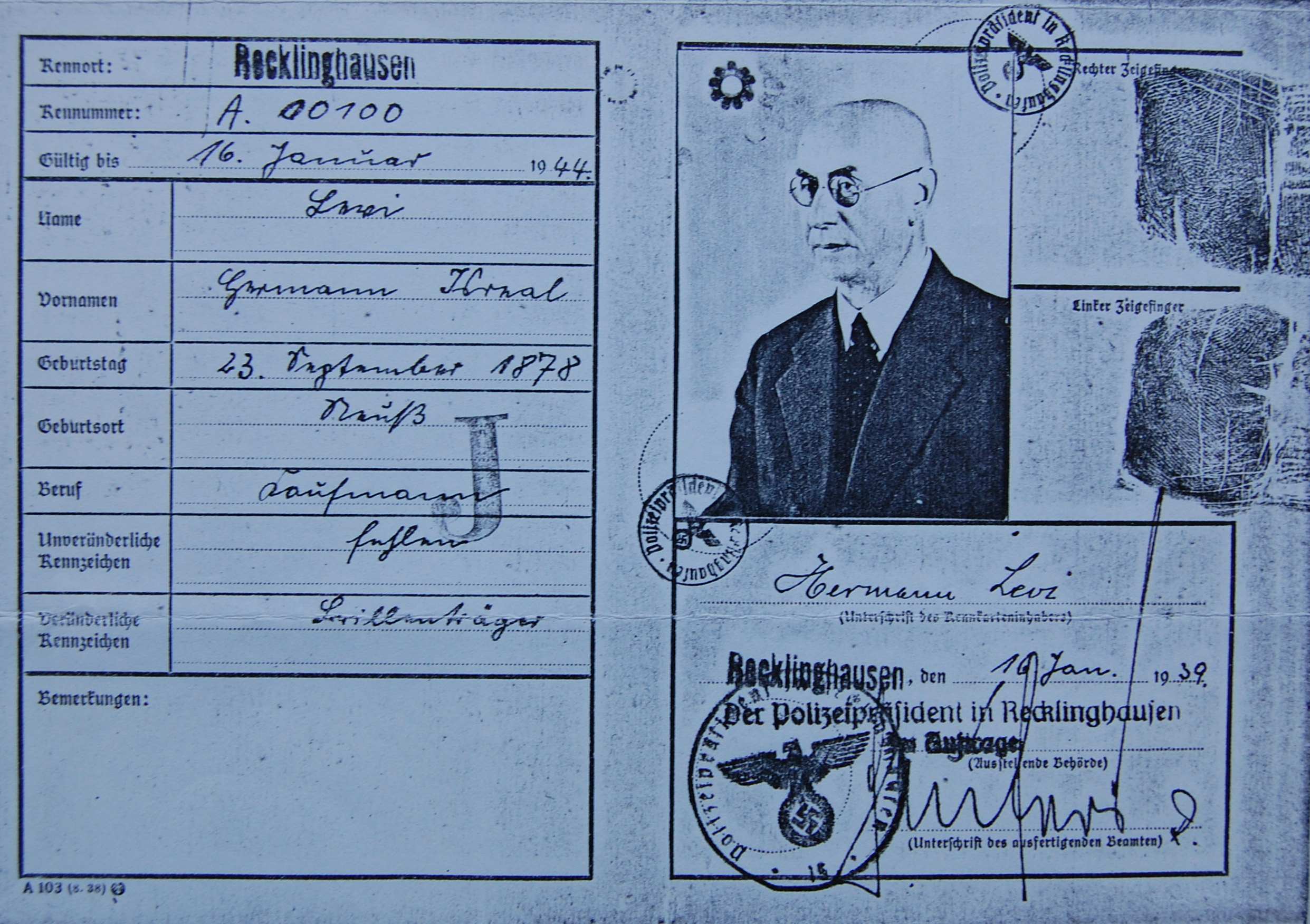 Hermann Levi, Kennkarte (Foto: Archiv Georg Möllers)