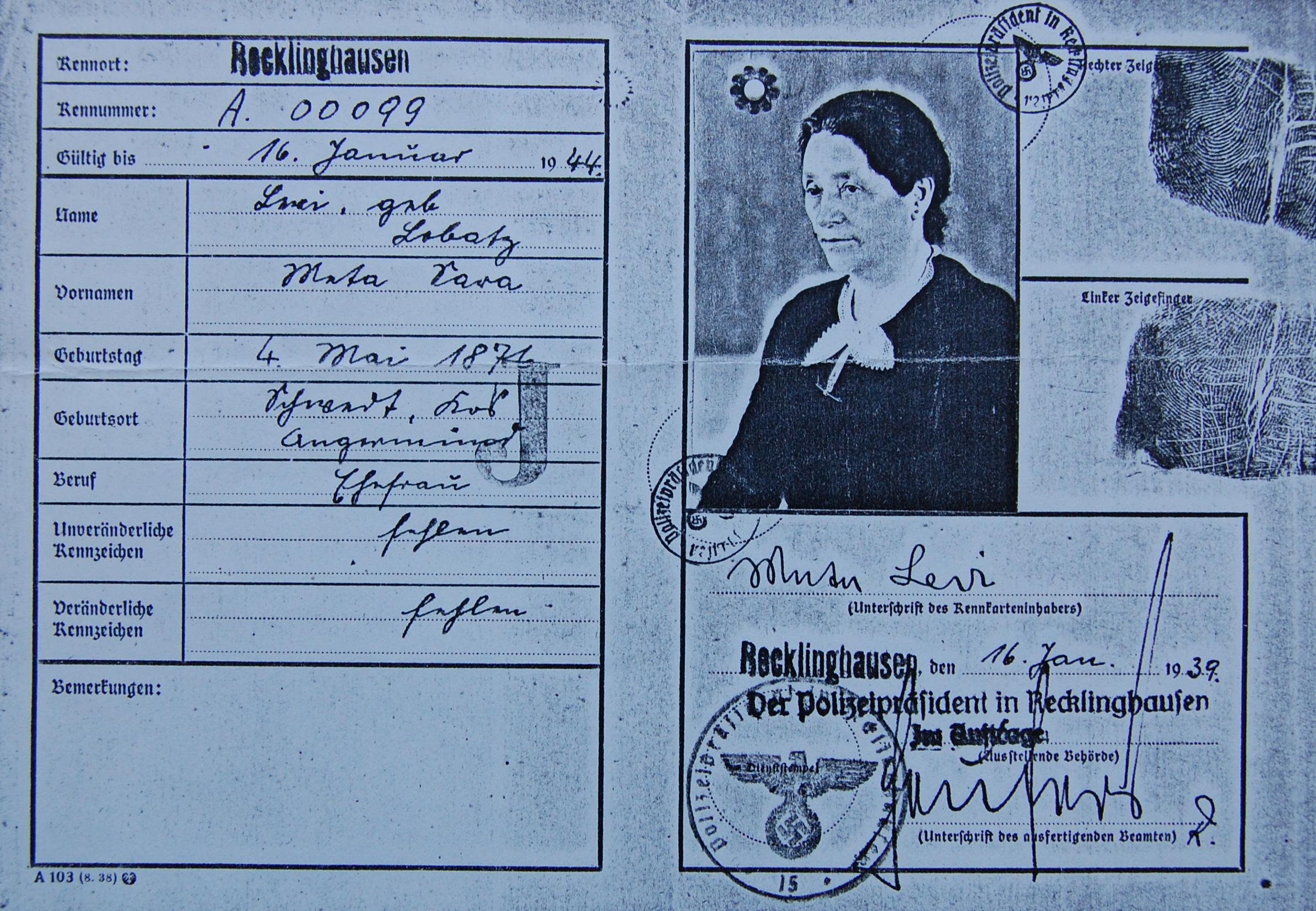 Meta Levi, Kennkarte (Foto: Archiv Georg Möllers)