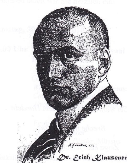 Dr. Erich Klausener (Zeichung: Funke, Vestischer Kalender 1923)