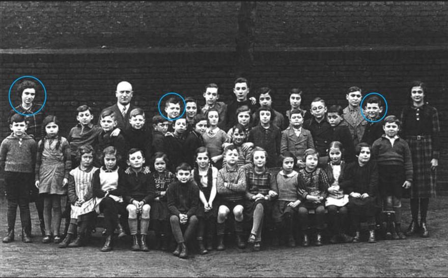 Gruppenfoto der jüdischen Schule in Herne Winterhalbjahr 1936/37 mit den Geschwistern Ruf v.l.n.r: Irmgard (geb. 1924), Manfred (geb. 1927) und Günter (geb. 1929),  Foto Stadtarchiv Herne