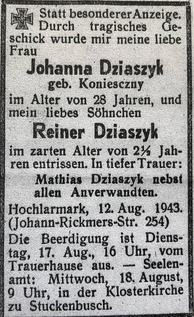 Todesanzeige Dziaszyk, RZ 15.August 1943