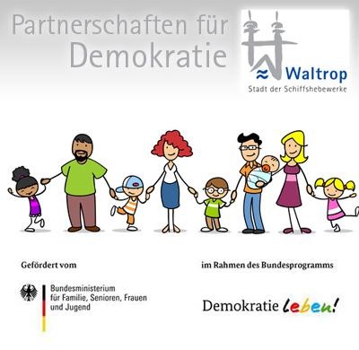 Auf dem Bild: Menschenkette im Comic-Stil (© Robert Kneschke, fotolia.com), Text im Bild: Partnerschaft für Demokratie in Waltrop
