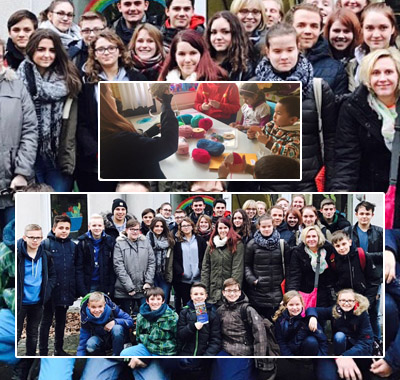Auf dem Bild: DLRG und KiJuPa beim Besuch des Oberhausener Friedensdorfes (Fotos: Stadt Waltop)